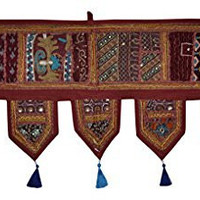 Handmade Embroidery Work Decorative Cotton Door Valance Tapestries 39 x 19 Inches