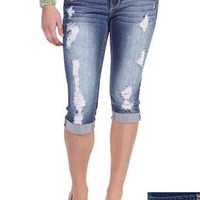 amethyst destructed denim capri with cuffed hem and metallic stitching - 1000043007 - debshops.com