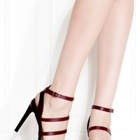Burgundy Faux Leather Triple Strap Pointed Toe Heels @ Cicihot Heel Shoes online store sales:Stiletto Heel Shoes,High Heel Pumps,Womens High Heel Shoes,Prom Shoes,Summer Shoes,Spring Shoes,Spool Heel,Womens Dress Shoes