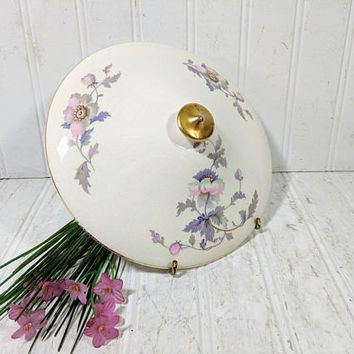 """Replacement Lid for Vegetable Serving Bowl National Ivory Dinnerware Pink & Purple Poppies Pattern Shabby Chic 7 3/4"""" China Bowl Dish Cover"""
