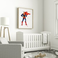 Superman Watercolor Art Print