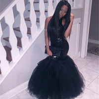 Sexy Black Mermaid Prom Dress Halter Crepe Long Prom Dresses Off The Shoulder Floor Length Prom Dresses Cheap