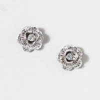 Crystal Center Silver Flower Stud Earrings  | Claire's