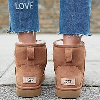 """UGG"" Winter Popular Women Cute Ankle Wool Snow Boots Brown Shoes I/A"