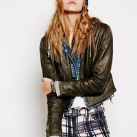 Free People Womens Cafe Racer Leather Jacket - Black,
