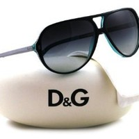 D&G DD3065 Sunglasses-1870/8G Black White Turquoise (Gray Gradient Lens)-60mm