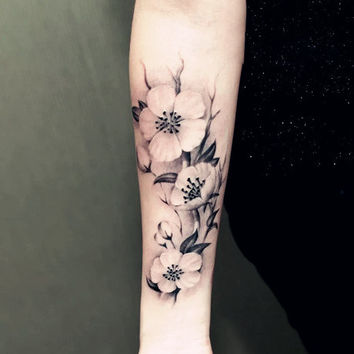 temporary tattoo plant large flowers flower body art water transfer skin paper tattoo spray sticker stickers fake tattoo daisy
