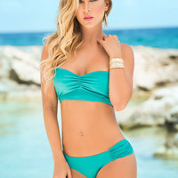 Sassy Two Piece Bathing Suit With Corset Back-Swimwear