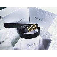 Samplefine2 Dior Tide brand men's and women's metal letter head smooth buckle belt Black