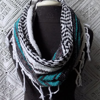 Turquoise Mexican Blanket Large Cowl Scarf With Fringe- Free Shipping to Continental US