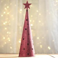 Red Glitter Cone Christmas Tree - Table/Shelf Decorations - Christmas and Winter - Holiday Crafts