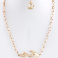 Side Anchor Chain Necklace