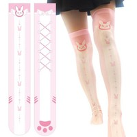 3 styles Cosplay Game OW DVA Thigh Lolita Printed Pantyhose D.VA Over Knee SOCKS Costume velet WATCH OVER STOCKINGS