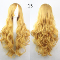 COS Wig Hair Extension woman wigs Hatsune Miku Cosplay Wig long hair wig wigs synthetic hair cap multicolor hair curly wig hair S2312-15