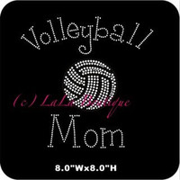 Volleyball mom iron on hot fix rhinestone transfers - pink and crystal volleyball appliqué for t-shirts