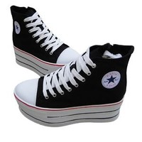 New Women Ladies High Top Canvas Shoes Lace-Up Comfort Platform Sneakers Shoes