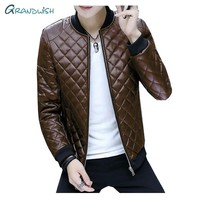 Grandwish 2018 autumn and winter fashion men's leather jacket collar Slim washed PU leather jacket coat Quilted Jackets,DA769