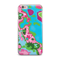 "Empire Ruhl ""Spring Agate Abstract"" Teal Pink iPhone Case"