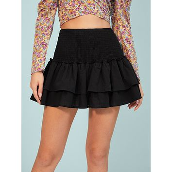 SHEIN Shirred Detail Layered Hem Skirt