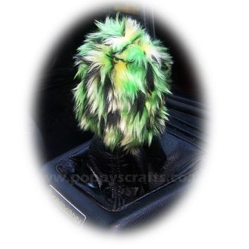 Cute Crocodile Fuzzy faux fur green scale print Gearknob cover cute