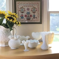 Large Milk Glass Collection, Hobnail Candy Dish, Pressed Glass Vase, Milk Glass Fruit Bowl, Reception Decor, Party Decorations