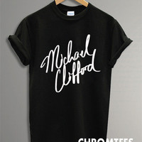 michael clifford shirt 5 second of summer t-shirt printed black and white unisex size (CR-12)