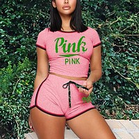 Onewel Victoria's Secret VS Sexy Slim Fashion Letter Print Two Piece Suit Pink Letters Powder