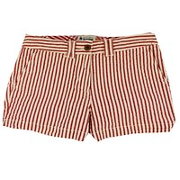Women's Shorts in White and Crimson Seersucker by Olde School Brand