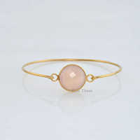 Superb Pink Chalcedony 15mm Round Micron Gold Plated 925 Sterling Silver Bangle Jewelry - #1314