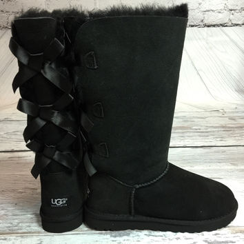 UGG BAILEY BOW TALL BOOTS IN BLACK
