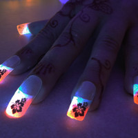 BioLumiNails - Pink/Blue Hibiscus -unique, glow in the dark, full cover, fake nails, designs, gift for her