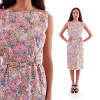 60s Pink Gold Lame Metallic Floral Wiggle Dress 1960s Hourglass Cocktail Sleeveless Boho Chic Retro Vintage Clothing Womens Size Medium