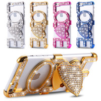Bling Diamond Love Case For Apple Iphone 6 6S 4.7 for 6 plus 6S plus 5.5 Hard PC Back Phone Cover