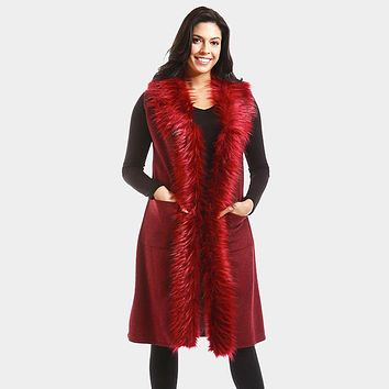 Collar Fur Long Vest with Pockets (Click For More Colors)