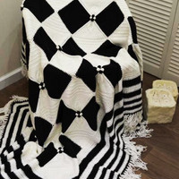 Throw blankets Handmade Wool blanket Afghan blanket Cozy Knitted throw black and white squares Housewarming gift Three Snails Free Shipping!