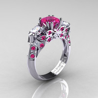 Classic 14K White Gold Three Stone Princess Pink and White Sapphire Solitaire Engagement Ring R500-14KWGWSPS