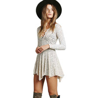 2016 Summer New Laceup V Neck Crochet Floral Lace Long Sleeve Cross Lacing Asymetrical Pleated Bodycon Sexy Women Mini Dress