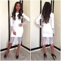 White Long Sleeve Floral Lace Accent Midi Dress
