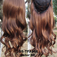 """HOT 3/4 Half Long Curly Wavy Wig Heat Resistant Synthetic Wig Hair 200g 24"""" Highlighted Curly Wig Hairpieces with Comb Wig Hair GS-TFA888 6#"""