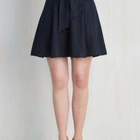 Nautical Mid-length A-line Musee Matisse Skirt in Navy