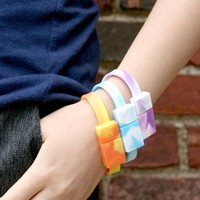 The MoH Band USB Flash drive Wristband (8GB; Cotton Candy with Peace Symbol) - for data on the go!
