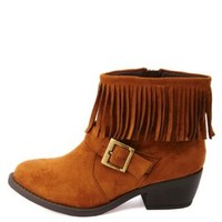 Soda Belted Fringe Ankle Booties by Charlotte Russe