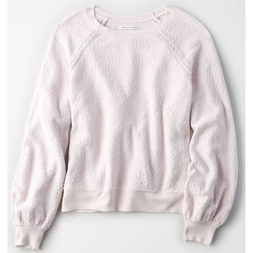 AE Boucle Balloon Sleeve Pullover Sweater, Lavender