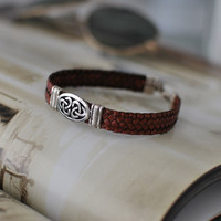 Celtic Trinity Brown Leather and Silver Bracelet