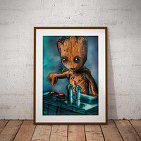 Baby Groot and the Death Button Gaurdians of the Galaxy Marvel Comic book Artwork Print