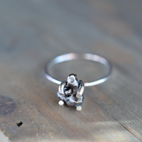 Meteorite Sterling Silver Ring. Shooting Star Meteorite Jewelry. Galaxy Ring. Outer Space Falling Star Meteorite Ring. Simple Stacking