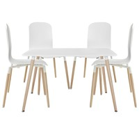 Stack Dining Chairs and Table Wood Set of 5 EEI-1375