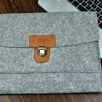 Leather Briefcase Case Felt Laptop Bag From Feltbagworld On