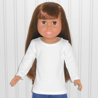 18 inch Girl Doll Clothes White Tee Shirt Long Sleeve Knit Shirt American Doll Clothes