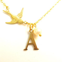 Tiny Initial Necklace, Gold Swallow Necklace, Personalized Bridesmaids Gift, Tiny Letter Pendant, Bird Charm, Dainty Vintage Style Necklace